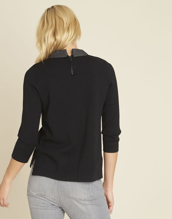 Bianca black sweater with Peter Pan collar (4) - Maison 123