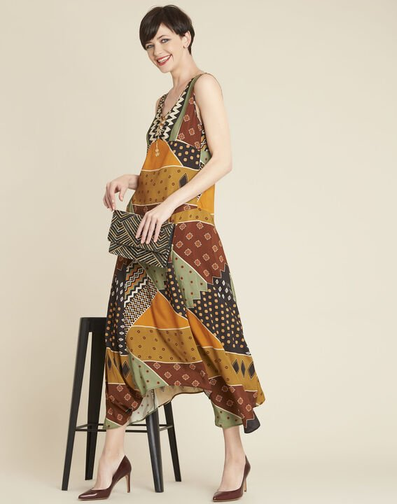 Dulce yellow dress with ethnic print (3) - 1-2-3