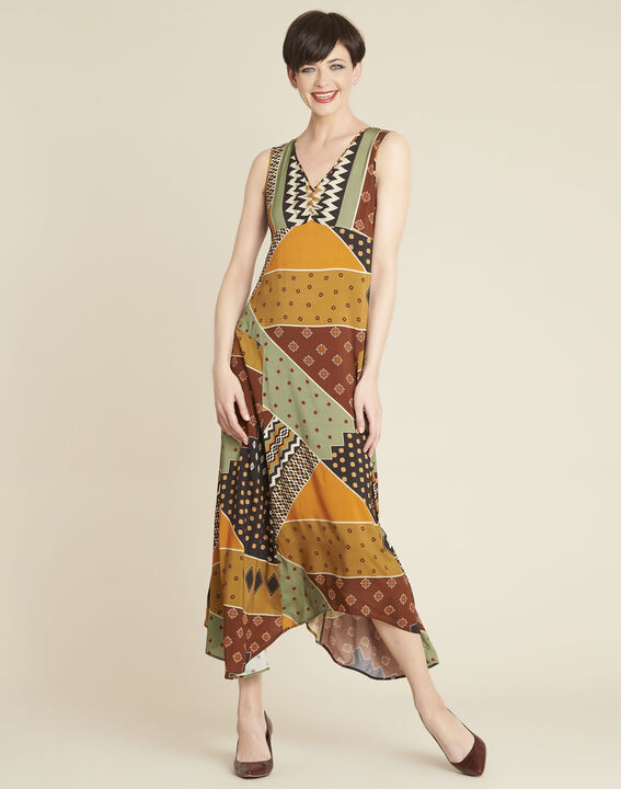 Dulce yellow dress with ethnic print (1) - 1-2-3