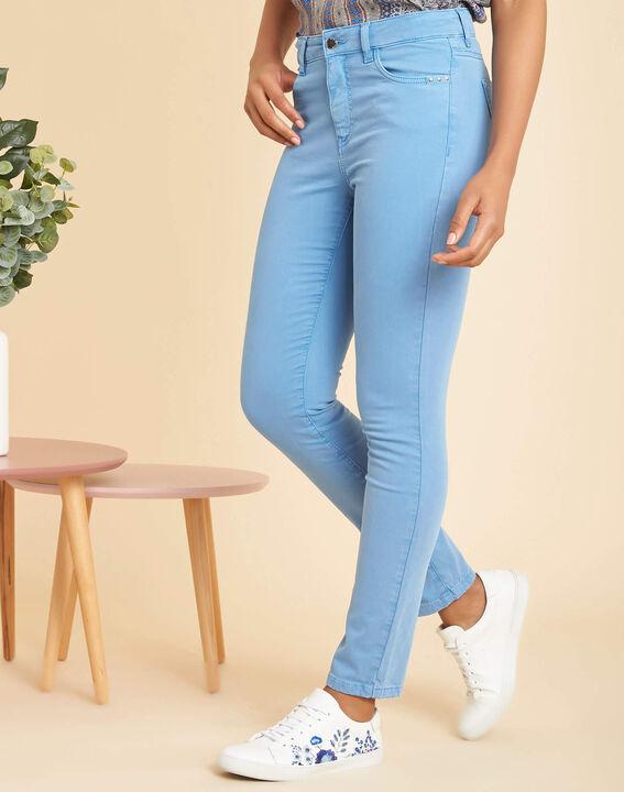 Blauwe verwassen slim fit jeans met normale taille Vendôme (3) - 37653