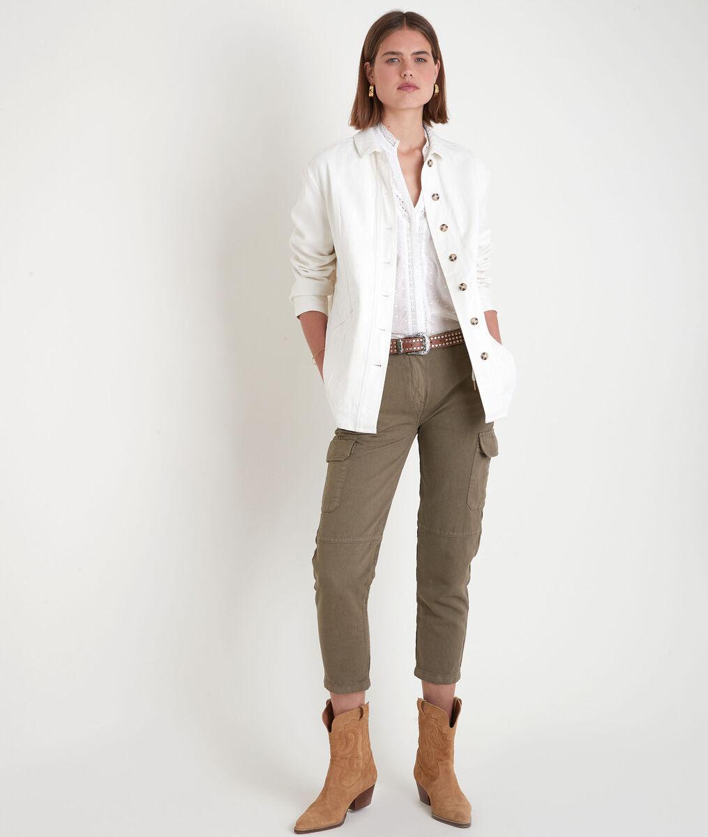 Pantalon cargo en coton et lin kaki Falou PhotoZ   1-2-3