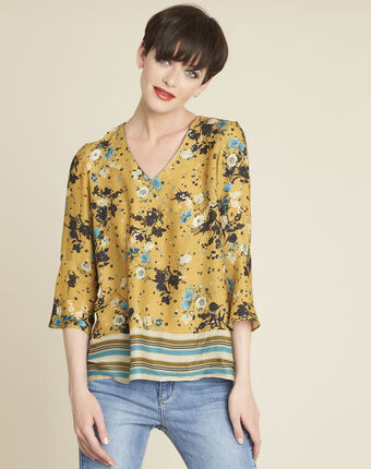Enrica yellow floral printed blouse honey.