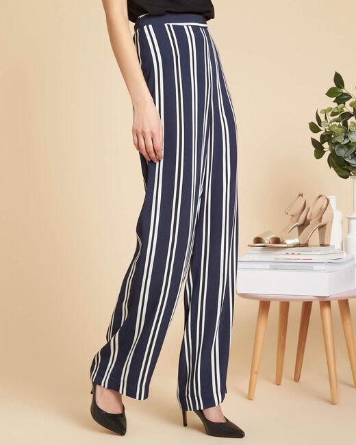 Pantalon large marine à rayures Sissi (2) - 1-2-3