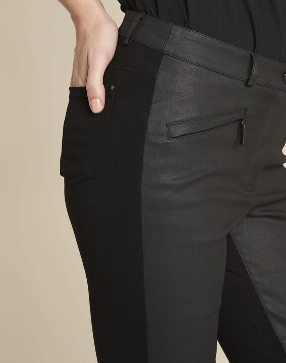 Zwarte slim-fit broek van twee soorten materiaal Helias (3) - 37653
