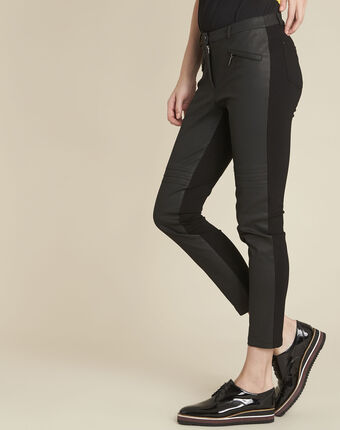 Helias black slim-cut bi-material trousers black.