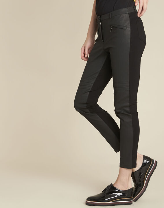 Helias black slim-cut bi-material trousers PhotoZ | 1-2-3