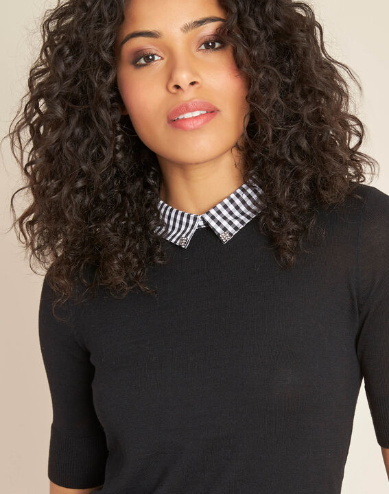 Noella black sweater with contrasting shirt collar PhotoZ | 1-2-3