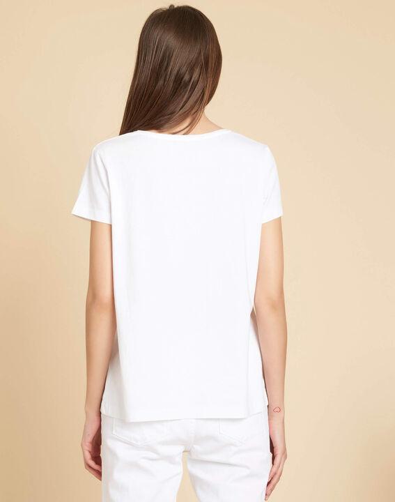 Wit T-shirt met bloemenmotieven Eloi (4) - 37653