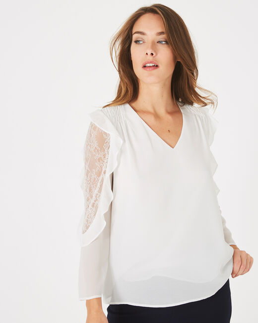Demetra white blouse with frilly sleeves (2) - 1-2-3