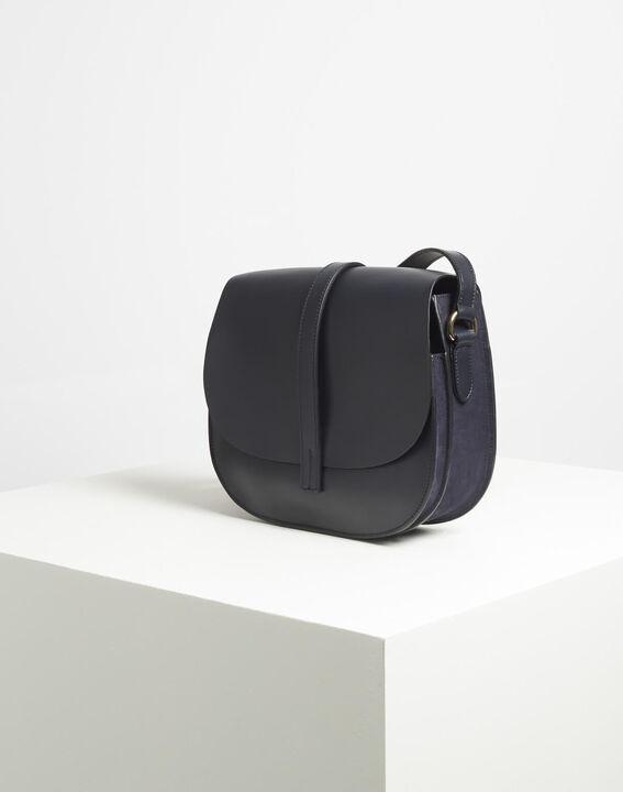 Delinda dual-fabric navy blue shoulder bag PhotoZ | 1-2-3