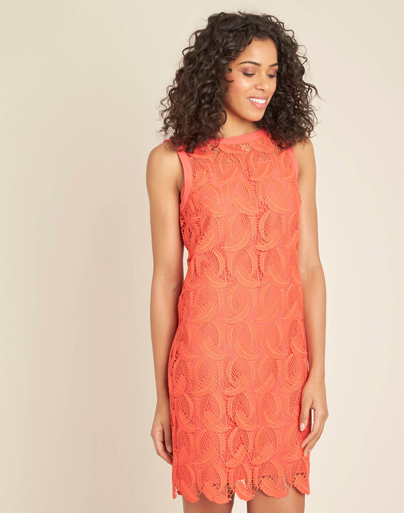 Iska coral short dress in lace (3) - 1-2-3