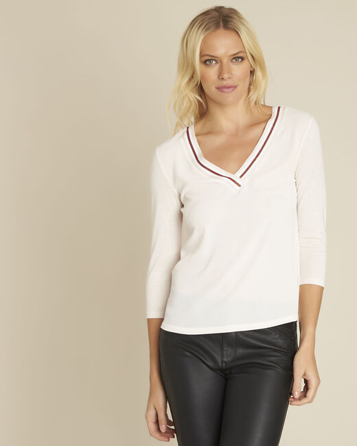 Clare nude bi-material blouse with V-neck (1) - 1-2-3