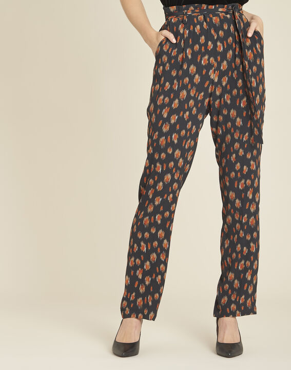Scoty loose black printed tapered trousers PhotoZ | 1-2-3