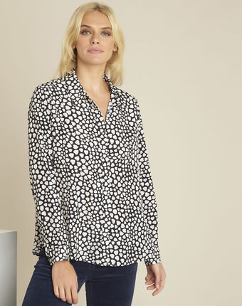 Catherine black heart print blouse black.