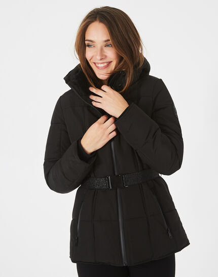 Livia black puffer jacket with a belt (3) - 1-2-3