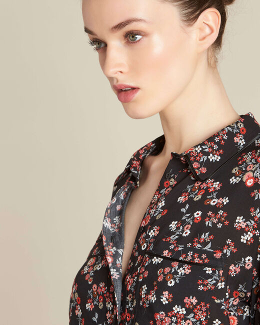 Davis black shirt with floral print (2) - 1-2-3