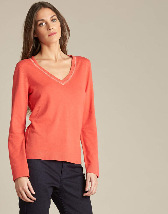 Newyork coral sweater in wool and silk with shiny neckline (3) - 1-2-3