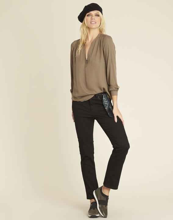 Khakifarbene Bluse mit V-Ausschnitt Christine (2) - 1-2-3