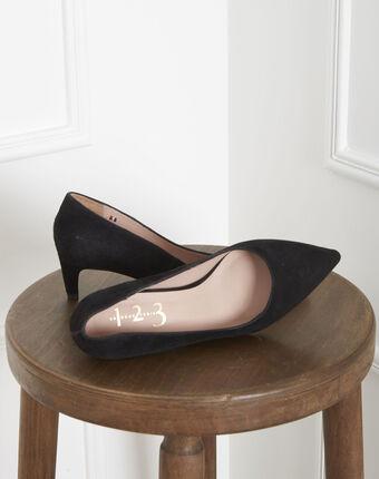 Escarpins noirs en cuir velours lili noir.