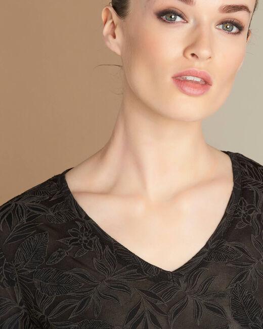 Zwart T-shirt met blaadjesprint Ecorce (2) - 37653