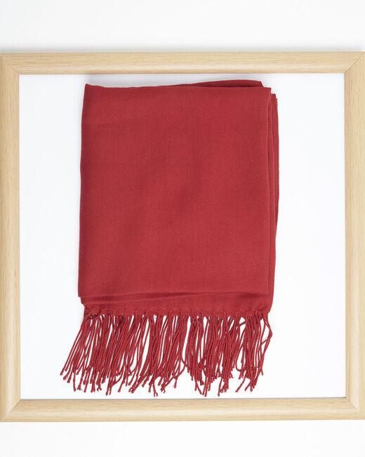 Foulard rouge à franges en viscose Fossette (2) - 1-2-3