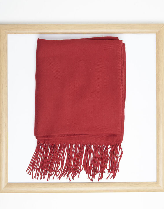 Fossette red viscose fringed scarf  (1) - 1-2-3