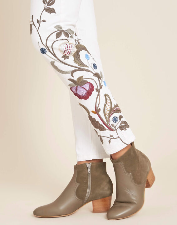 Vendôme white embroidered slim-cut 7/8 length jeans (1) - 1-2-3