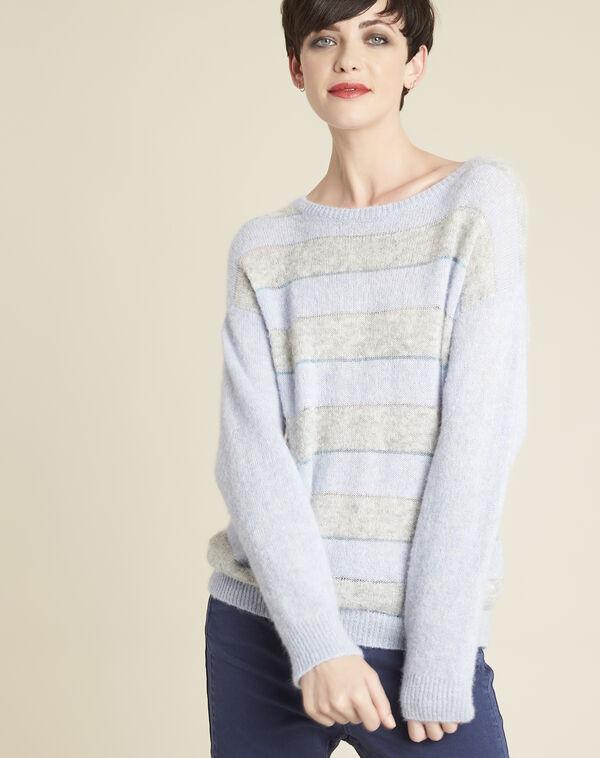 Pull azur rayé alpaga et laine Bound (1) - 1-2-3