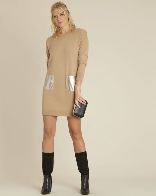 Baltus camel knit dress with faux leather pocket (1) - 1-2-3