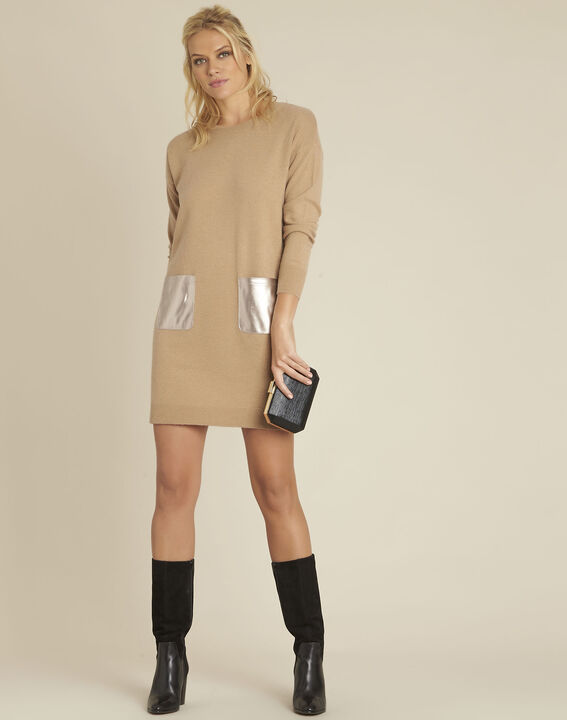 Baltus camel knit dress with faux leather pocket (2) - 1-2-3