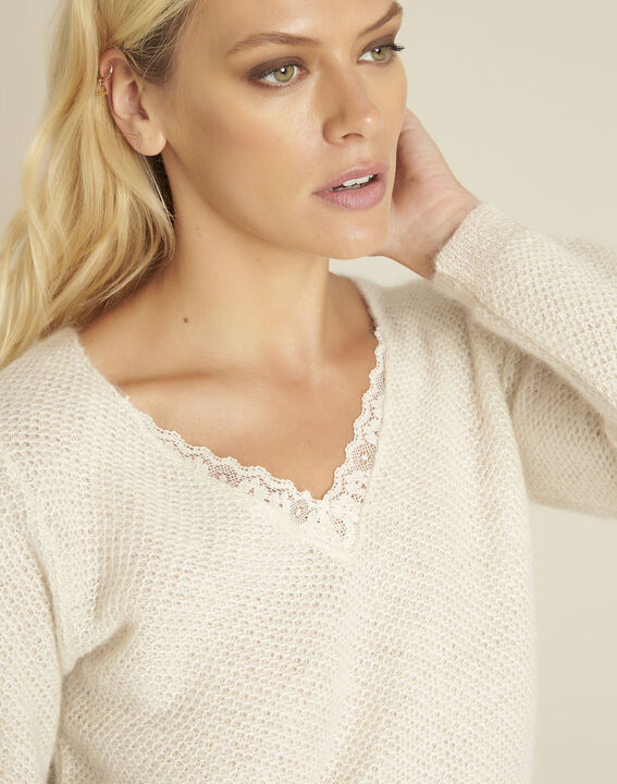Bisou ecru mohair mix pullover with lace neckline (3) - 1-2-3