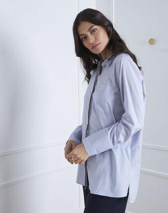 Chemise bleue détail argenté valza bleu ciel.