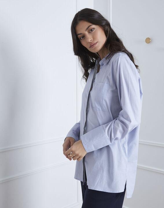 Blaues Hemd mit silberfarbenen Details Valza (1) - Maison 123