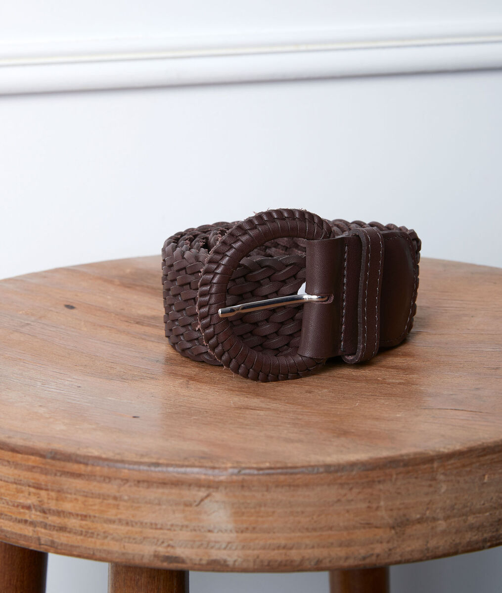Ceinture tressée en cuir chocolat Sandie PhotoZ | 1-2-3