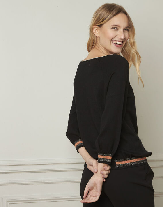 Zwarte trui in sportieve stijl met lurex details Amarante (3) - Maison 123