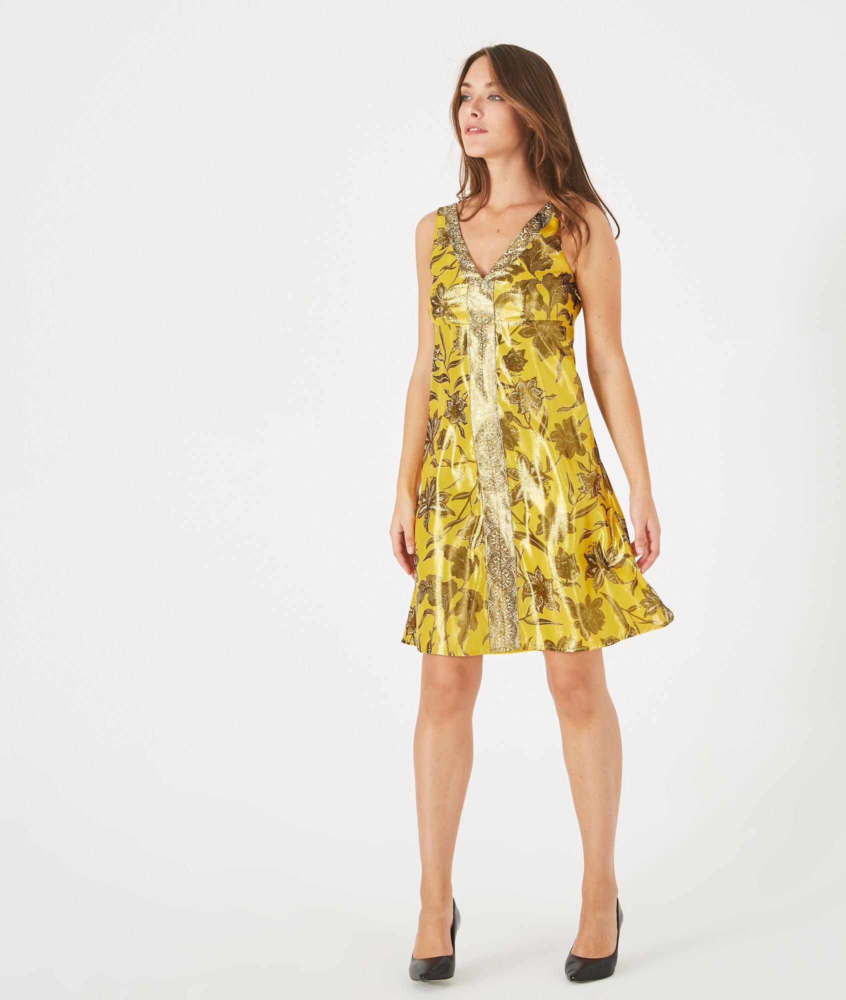 Robe jaune imprimee