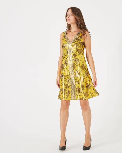 Robe jaune imprimé brillant Bonita (2) - 1-2-3