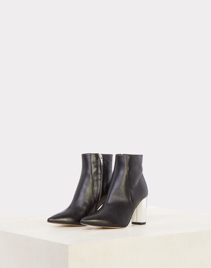 Noor black ankle boots with silver heels PhotoZ | 1-2-3