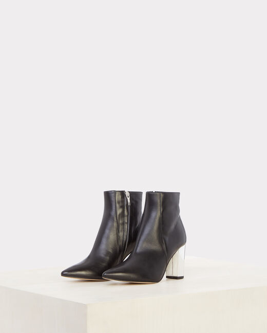 Noor black ankle boots with silver heels (1) - 1-2-3