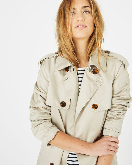 Jeanne short cream trench coat (1) - 1-2-3