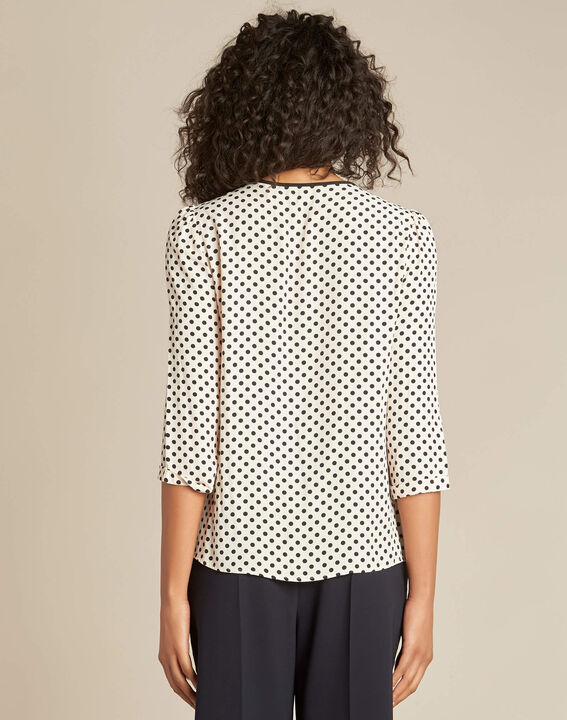 Gastric pastel blouse with black polka dots (4) - 1-2-3