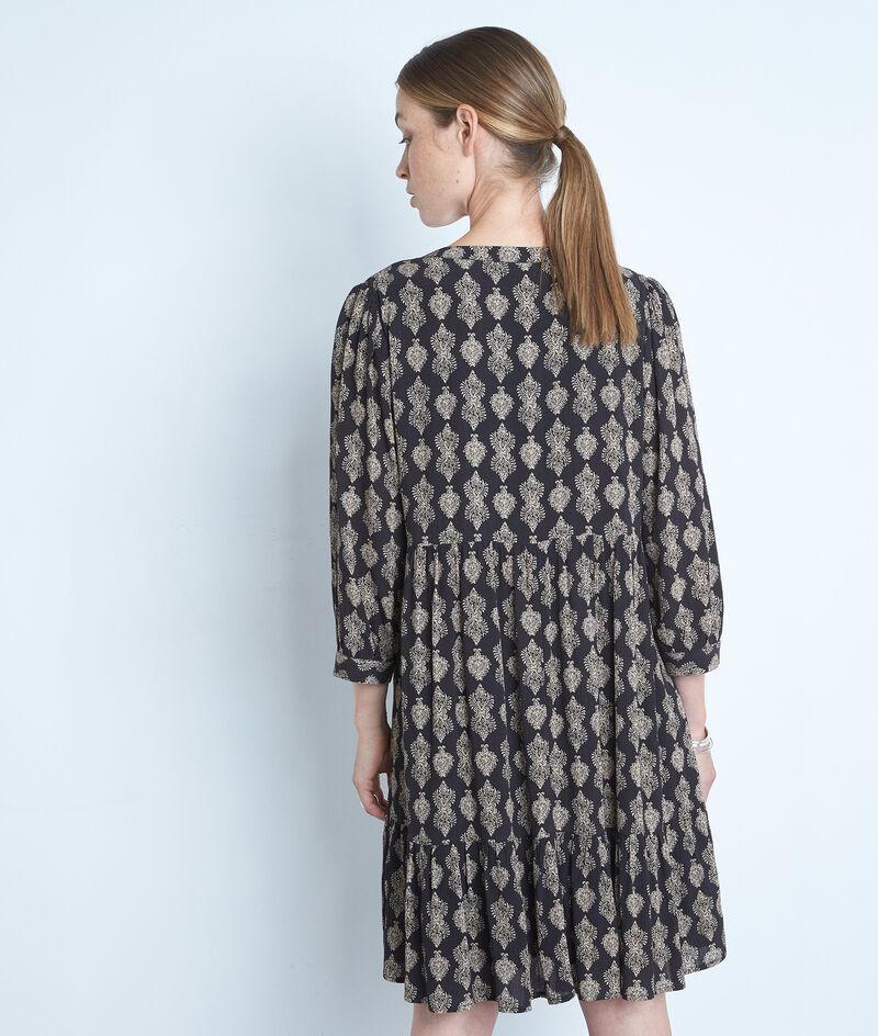 Robe courte imprimée noir et beige en viscose responsable Soleil PhotoZ   1-2-3