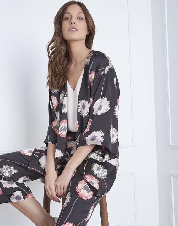 Kimono noir imprimé fleuri effet satin Flore (2) - Maison 123
