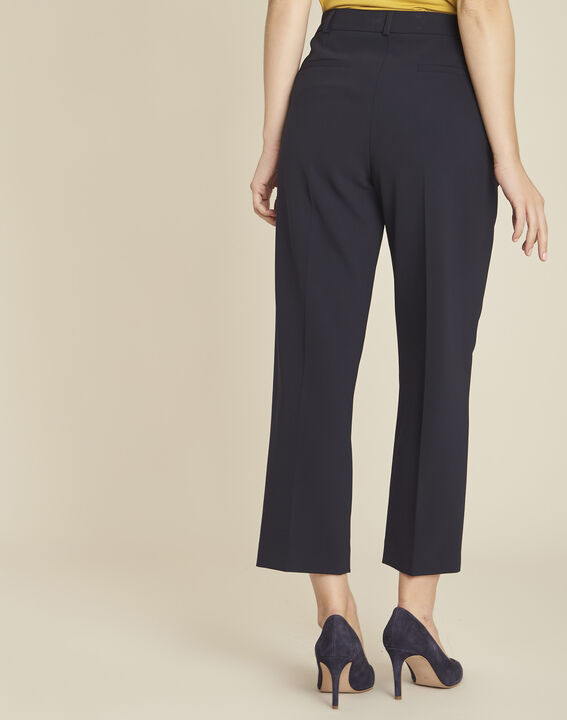 Hermane wide-leg navy 7/8 length trousers (4) - Maison 123