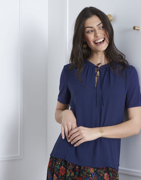 Viola navy blouse with laced neckline (2) - 1-2-3