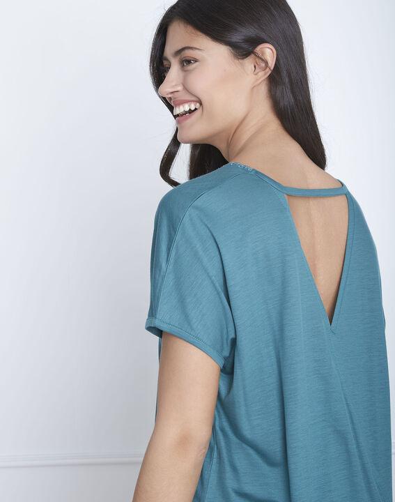 Grünes T-Shirt mit Spitze und Papaya-Ausschnitt (4) - Maison 123