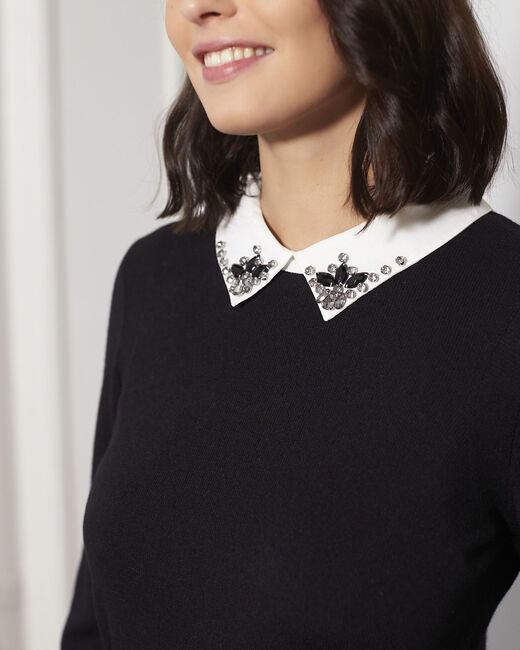 Beads black jewelled pullover with shirt-style collar (2) - 1-2-3