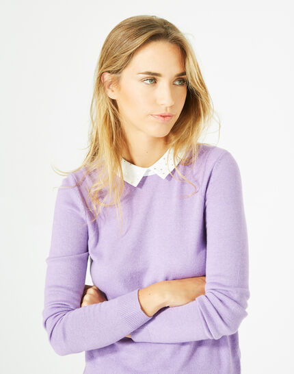 Pretty lilac sweater with stylish neckline (3) - 1-2-3