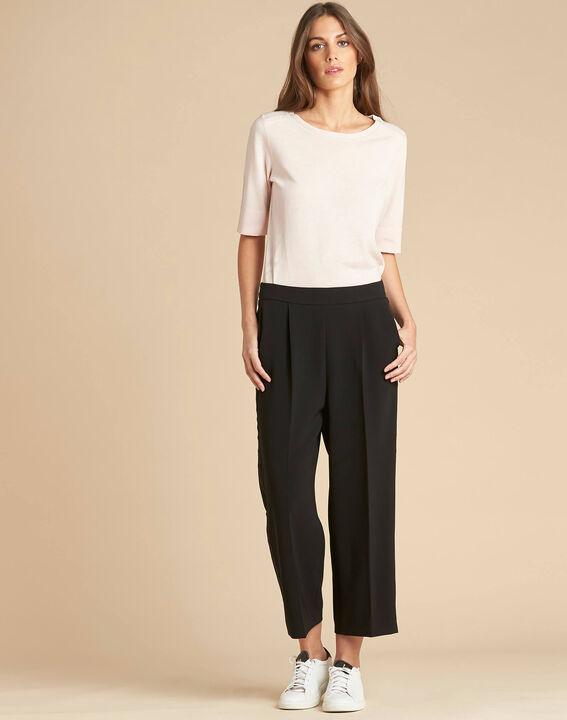 Pantalon noir large 7/8ème microfibre Vada (2) - 1-2-3