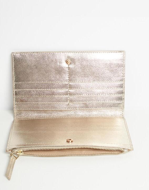 Goldenes Leder-Portemonnaie mit zwei Klappen Dita (4) - 1-2-3